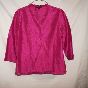 Eileen Fisher Fuschia Pink jacket  Silk